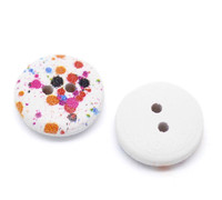 White Painted Wood Button Two Hole - Paint Splatter - Two Hole 15mm