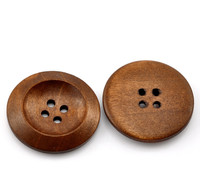 "Coffee 4 Holes Round Wood Sewing Buttons 30mm(1 1/8"")"
