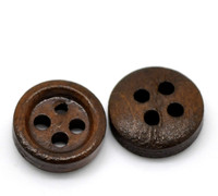 "Dark Coffee 4 Holes Round Wood Sewing Buttons 11mm(3/8"")"