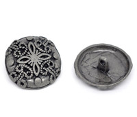 Silver Tone Metal Shank Buttons 25mm Design No. 6