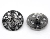 Silver Tone Metal Shank Buttons 28 mm Design No. 7
