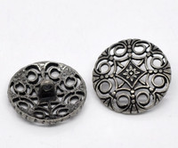 Silver Tone Metal Shank Buttons 24 mm Design No. 8