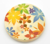 Floral (Design 18) Painted Wood Button Four Hole Natural Wood Colour 30mm