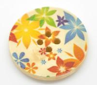 Floral (Design 18) Painted Wood Button Four Hole Natural Wood Colour 30mm