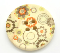 Floral (Design 20) Painted Wood Button Four Hole Natural Wood Colour 30mm