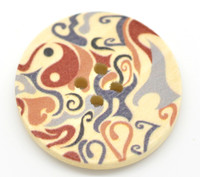 Floral (Design 21) Painted Wood Button Four Hole Natural Wood Colour 30mm