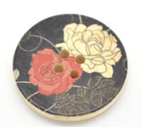 Floral (Design 27) Painted Wood Button Four Hole Natural Wood Colour 30mm