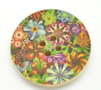 Floral (Design 24) Painted Wood Button Four Hole Natural Wood Colour 30mm