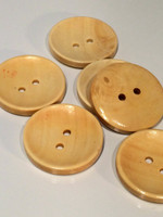 Plain Round Wood Button Two Hole Natural Colour 30mm