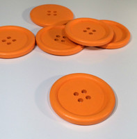 Painted Wood Button Four Hole Orange Colour 40mm