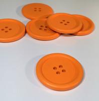 Painted Wood Button Four Hole Orange Colour 40mm