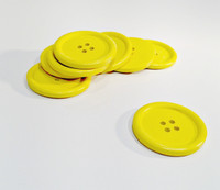 Painted Wood Button Four Hole Yellow Colour 40mm