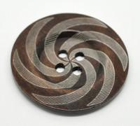 Dark Brown 4 Hole Swirl Pattern 6cm Button
