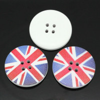 White Painted Wood Button four hole - Union Jack