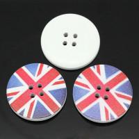 White Painted Wood Button four hole - Union Jack