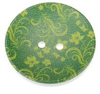 Wood Painted  2 Holes Green Flower Pattern (Design 1) 4cm