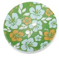 Wood Painted  2 Holes Green Flower Pattern (Design 3) 4cm