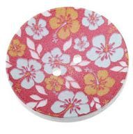 Wood Painted  2 Holes Pink Flower Pattern 4cm
