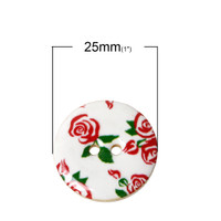 Rose Flower Enamel coated button - 25mm