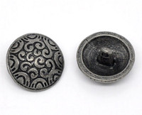 Silver Tone Metal Shank Buttons 20 mm Design No.2