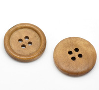 Plain Round Wood Button Four Hole Light Coffee Colour 25mm