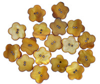 Shell Button Flower Shaped Brown 18.5mm