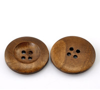 Round Concave Design Wood Button Four Hole Medium Brown Colour 25mm