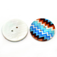 Shell Buttons Round 2 Holes Multicolor Pattern 3cm Dia