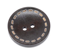 Stitch Edge Round Wood Button Two Hole Dark Brown Colour 25mm