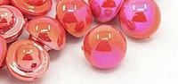 Resin Shank Buttons Mushroom, Shimmer Red Orange Colour