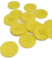 Yellow Round Button 4 hole 17mm