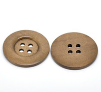 Round Extra Large Wood Button Four Hole Coffee Colour 5 cm