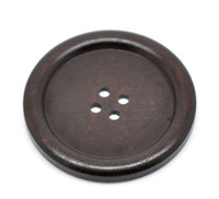 Round Extra Large Wood Button Four Hole Dark Brown Colour 5 cm