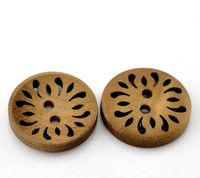 Round Laser Cut Flower Wood Button Two Hole Light Coffee Colour 23mm