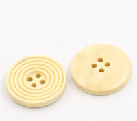 Round Ridged Design Wood Button Four Hole Cream Colour 25mm