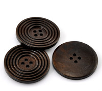 Round Ridged Design Wood Button Four Hole Dark Brown Colour 38mm