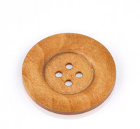 Round Extra Large Wood Button  Four Hole Coffee Brown Colour 6cm