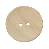 Plain Round Wood Button Two Hole Natural Colour 40mm