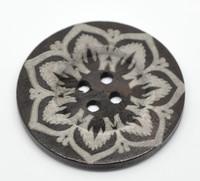 Dark Brown 4 Hole Flower Pattern 6cm Button
