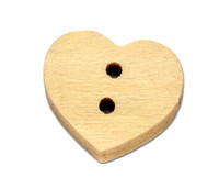 Mini Heart Shaped Wooden Button 2 hole 11mm