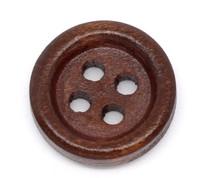 Round Wood Button Four Hole Dark Brown Colour 15mm