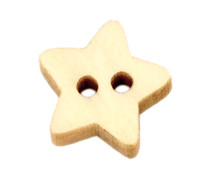 Mini Star Shaped Wooden Button 2 hole 13mm