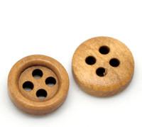 Round Wood Button Four Hole Dark Honey Colour 11mm