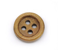 Round Wood Button Four Hole Dark Honey Colour 15mm