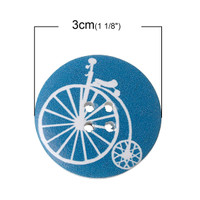 White Wood Painted Button Multi-Coloured Penny Farthing Design Four Hole 30mm