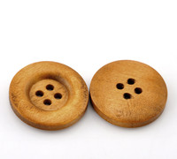 Round Wood Button Four Hole Light Coffee Colour 23mm