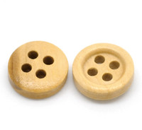 Round Wood Button Four Hole Natural Colour 11mm
