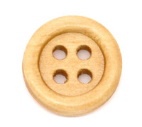 Round Wood Button Four Hole Natural Colour 15mm