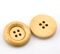 Round Wood Button Four Hole Natural Colour 23mm