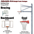 Gared Standard Duty Adjustable Straight Post Package - Rectangular Backboard w/o Border